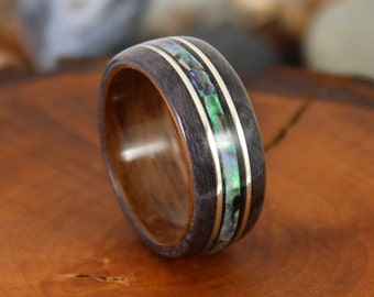 Walnut & Grey Maple Wood Ring with Silver and Abalone Mens Wood Ring Wood Rings Wood Engagement Ring Wood Wedding Band Bentwood Rings