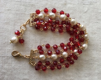Red 5 Strand Bracelet, Vintage Czech Beads, Vintage Japanese Glass Pearls, English Cut Siam Beads