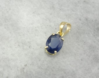 Navy Blue Oval Sapphire Pendant, Simple Yellow Gold Solitaire Gemstone Drop 44CWT4-R