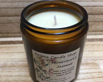 HONEYSUCKLE JASMINE Handmade Soy Scented Candle, 8oz soy wax candle, birthday gift, gifts for mom, gifts from her, gifts for home