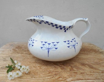 French antique bathroom jug, washing pitcher by Creil et Montereau white and blue checkered decor with flowers, bathroom faïence pitcher.