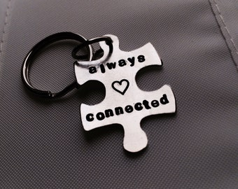 Puzzle piece key chain, always connected