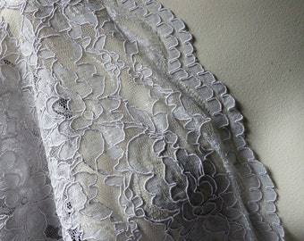 Lavender Gray Alencon Corded Chantilly Lace Fabric for Bridal, Mother of the Bride, Skirts, Clutches, Evening Wear