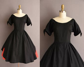 vintage 1950s black cotton full skirt red polka dot dress XS Small 50s New Look black vintage circle skirt