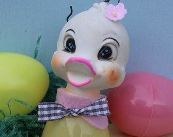 Vintage Rubber Head Adorable Chick/Duck Ornament, Easter, Yellow,  ONE