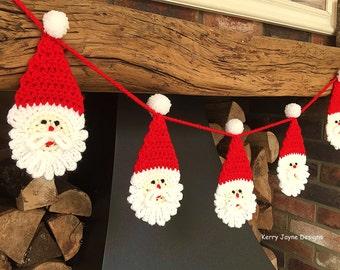 FUN CHRISTMAS CROCHET Pattern Chunky Santa Bunting Pattern Crochet santa pattern Xmas bunting pattern Santa pattern Santa applique pattern