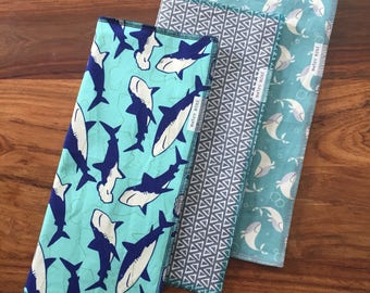 Burp cloths ocean creatures - set of 3 - cotton with flannel backing