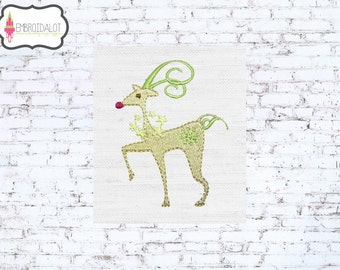 Reindeer machine embroidery design. Prancing reindeer embroidery in two sizes! Fun and modern Christmas embroidery.