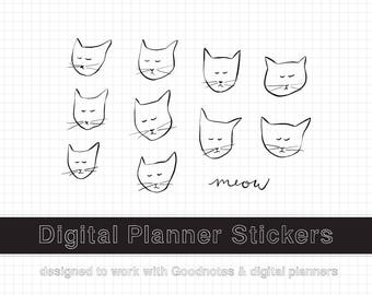 Goodnotes Stickers, Goodnotes Planner Stickers, Ipad Pro Digital Planner Stickers for Goodnotes Digital Stickers for Planner Cat Stickers
