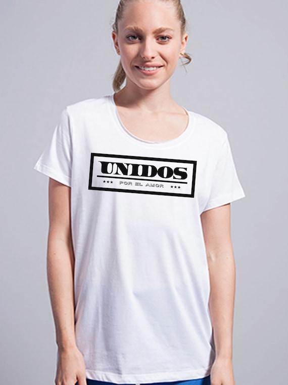 Round neck women t-shirt UNIDOS POR el AMOR