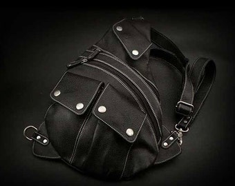 Leather Backpack Black K05D49