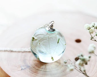 Dandelion Wish Necklace - Water Drop - Dandelion Orb , Dandelion Seed Necklace , Dandelion Necklace , Resin Necklace , Dandelion Jewelry