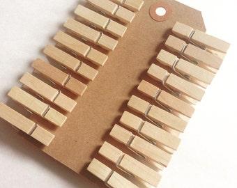 Mini Wood Clothespins 20pcs