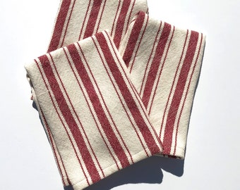 Tea Towels Hand Woven in Red and White stripes