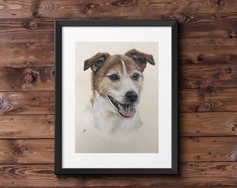 Jack Russell Terrier Portrait Fine Art Giclee Print // Dog Art // Terrier // JRT art // Terrier gift // Jack Russell gift // dog art gift