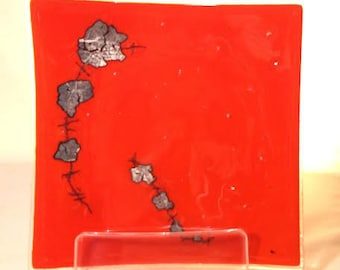 """FUSED GLASS PLATE - Square fused glass plate. Opaque pimento red fused glass w/ silver leaf & copper strands. 8 5/8"""" square.( 014)"""