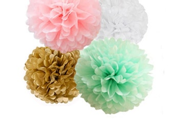 Mint, Pink, and Gold Tissue Paper Pom Poms   4 Piece Set   Weddings   Bridal Shower   Decorations   Birthday   Nursery   Party Decorations