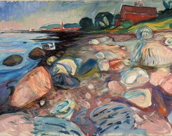 Edvard Munch: Shore with Red House. Fine Art Print/Poster (0084)