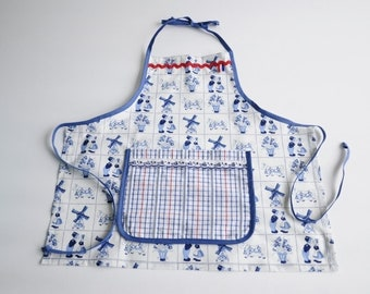 Child Apron Dutch Pattern Blue