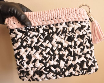 Hand Knitted 100% Cotton Clutch Bag - Black and White Pink Trim
