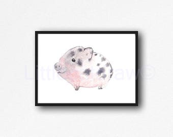 Pig Print Cuddly Pig Watercolor Painting Print Pink Little Piglet Piggy Animal Art Print Living Room Decor Wall Decor Wall Art