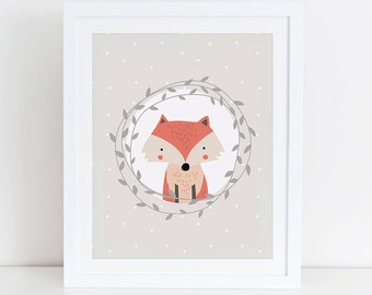 Fox Art Print, Fox Printable, Woodland Nursery Art Print, Instant Download, Digital Art Print, Woodland Animals Nursery Decor, Fox Floral