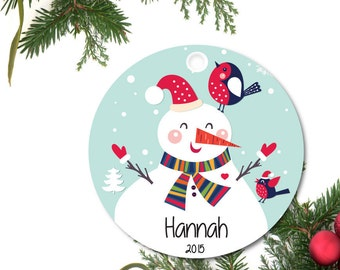 Snowman Ornament, Personalized Christmas Ornament, Girls Ornament, Custom Ornament, Ceramic Girls Ornament, Holiday Gift