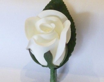 White Rose Buttonhole, Silk White Rose, Rose Bud, Buttonhole, Boutonniere, Wedding, Groom, Groomsmen, Silk Rose, White