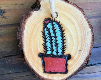 Set of 3: cactus ornaments, woodburned, handmade ornament, cacti