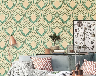 Self adhesive vinyl wallpaper, wall decal - Ogee wall pattern- 074 EMERALD/ CREAM
