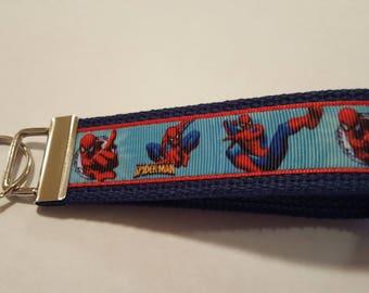 "Red Blue Superhero Movies TV 6"" Key FOB Keychain Wristlet Grosgrain Ribbon Heavy Cotton Webbing"