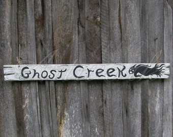 Primitive Folk Art Ghost Creek Sign Original Halloween Painating Black And White Haunted House Decor
