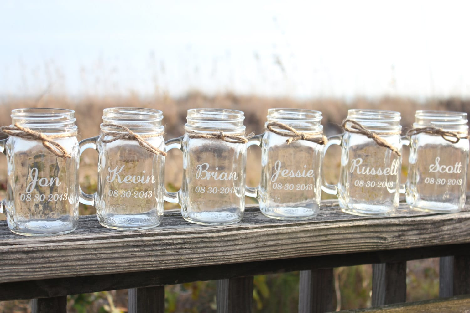 10 Mason Jars mugs Personalized Mason Jar Mugs Engraved