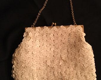 Cream  Sequin Clutch Bag-Sequin Clutch-Clutch Bag-Vintage Sequin Bag-Vintage Sequin Clutch-Sequin Bag-Purse-Wedding Bag-Satin Lining Bag