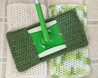 Swiffer Cover, Set of 3 Reusable Swiffer Covers, Crochet Swiffer Pad, Eco Friendly Mop Covers, Sweeper Cover, Swifter Cover, Green Off White