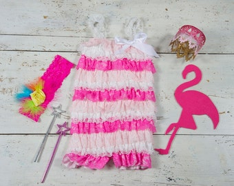 Girls first birthday outfit. Lace Romper -Girls Lace Romper set, Baby Romper,Petti romper set, Pink multi petti romper, Photo prop romper