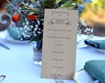 "Menu - wedding christening ceremony - pattern ""headband"" - ivory, white cardstock or kraft - order 3 units minimum"