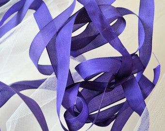 Antique french silk ribbon, purple, 13 mm