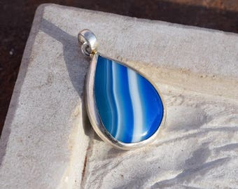 Blue Botswana Agate Pendant, 925 Silver Pendant, 56ct Unique silver jewelry, wholesale silver 925, Designer Silver Agate Jewelry  N-010