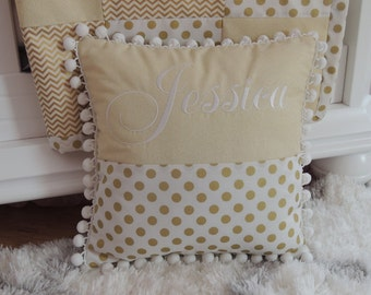 Personalized Baby pillow,Custom kids pillow,embroidered pillow,gold,baby shower gift,personalized gift, gold polka dots chevron print