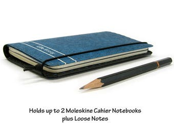 Personalized Kraft-tex Vegan Moleskine Cahier Notebook Cover w/ Pen Holder - Blue - Can Hold Two 3.5 x 5.5 in. Moleskine / Field Notes