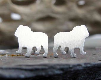 English Bulldog stud earrings. Sterling silver, gold filled or solid 14k gold. Dog jewelry.  Bull dog posts animal lover gift. Bully breed