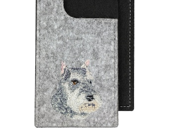 Schnauzer - A felt phone case with an embroidered image of a dog.