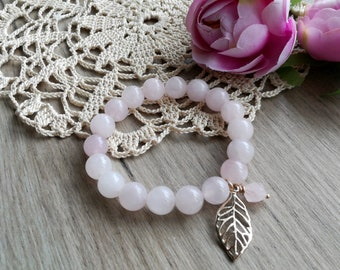 Rose Quartz bracelet Rose Quartz jewelry Pink Quartz bracelet rose quartz bracelet gold gift for girlfriend rose quartz  amulet of love