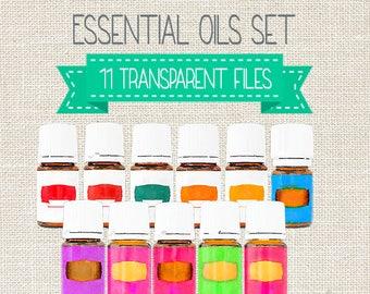 Essential Oil Watercolor Bottles, Premium Starter Kit, Essential Oil Bottle Clip Art, Starter Kit, YL Oil Bottle Clipart, Instant Download