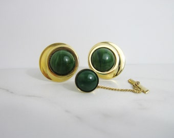 Vintage Gold Tone Cuff Link/Tie Tack Set with Green Cabochons