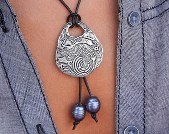 Fish Jewelry, Nautical Necklace, Nautical Fish Necklace, Sterling Silver Fish Necklace, Koi Fish Pond Jewelry, Koi Fish Goldfish Jewelry