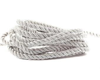3.5mm Metallic Silver Twisted Rayon Satin Rope Silk Braid Cord - 3 Ply Twist - 1 meters - 1.09 Yards - No:17