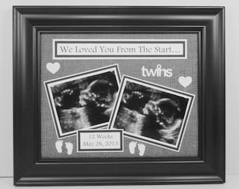 Twins Ultrasound Sonogram Photo Mat - Personalized With Sonogram Date - Love At First Sight / Any Message - UNFRAMED Insert for 8x10 Frame