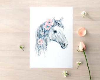 Wild Pony print - Contemporary art print of pencil and watercolor drawing